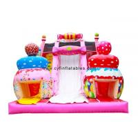 China Inflatable Amusement Park 5×8Meter  Candy themed inflatable slide Pink Inflatable dry Slides for sale