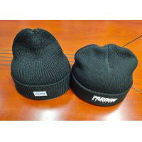 Wholesale warm black wool or cotton customize woven label inner tape printing knitted boonies hats for winter from china suppliers