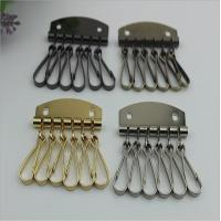 Wholesale Fashion Style Leather Key Chain Zipper Card Wallet Unisex Iron gold Keychain Holder with 6 Hooks Snap Closure from china suppliers
