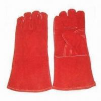 14'' Cowsplit Leather Safety Gloves, Full Knit Lined, Red Reinforced Palm, Kevlar Sewing, CE Mark for sale