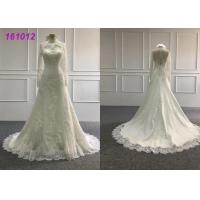 Wholesale Vintage High Neck A Line Ball Gown Wedding Dress With Long Sleeves Zipper Back from china suppliers