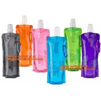 Wholesale Spouted flexible foldable water bag with carabiner for running, flexible printing and lami from china suppliers