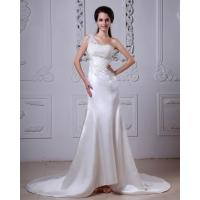 Wholesale Lace Flower Satin One Shoulder Wedding Gowns with Long Train for Girls from china suppliers