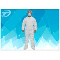 Wholesale PE Coated Disposable White Coveralls / Disposable Protective Suits For Men S To 5XL from china suppliers