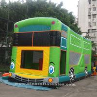 Commercial grade giant bus inflatable bouncer with slide N pillars inside for