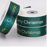 Factory Print Logo Dark Green Christmas Ribbon for sale