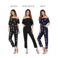 Wholesale 2019 summer slacks chiffon European sexy flared print jumpsuit from china suppliers