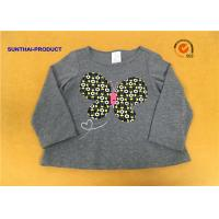 A Line Shape Children T Shirt Heather Gray Embroidered Baby Girl Long Sleeve T Shirts for sale