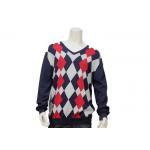 China Argyle Sweater Design For Men Intarsia Patterns V Neck Long Sleeve Knitted Jumper for sale