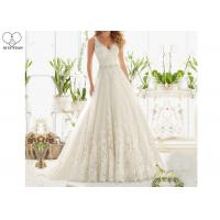 China Plus Size Long Tail Bridal Gown V Neck Sleeveless Lace Backless Beaded Belt on sale