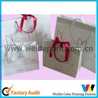 Red Fashion Luxury Kraft Paper Bags For Clothes With Flat Bottom / Handles for sale
