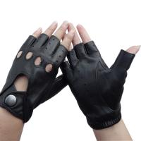 Wholesale Sheepskin Mens Fingerless Driving Gloves , Fingerless Leather Gloves Customized Size from china suppliers
