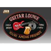 China Personalized Antique Wall Art Sign Pub Sign Wall Decor Oval Shape Guitar Lounge for sale