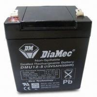Wholesale 12V 5Ah Sealed Lead-acid Batteries with Black Plastic Case and White Printing from china suppliers