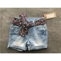 Popular Light Wash Denim Shorts / Stretchy Jean Shorts With Printed Woven Fabric Belt