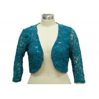 100% Polyester Lace Fabric Casual Ladies Wear Half Length Cardigan With Paillette for sale