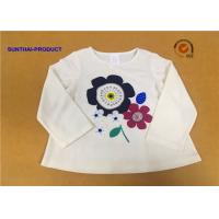 Long Sleeve Childrens Plain White T Shirts Crew Neck Screen Print For Girls for sale