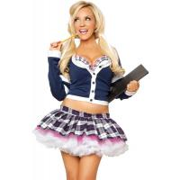 Wholesale School Girl Costume College Babe School Girl Outfit by Spandex and Cotton Fabric in Blue  Color with XXS-XXXL