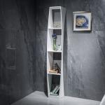 China Elegant Look Stone Bathroom Shelf White Corner Bathroom Shelf for sale