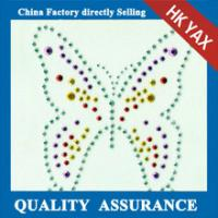 Wholesale D0929Butterfly design hot fix rhinstuds design & strass design motifs for shirts from china suppliers