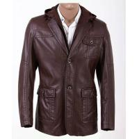 Wholesale M L XL XXL XXXL XLL XLLL Luxury and Casual, Young Mens Fashion Hooded PU Leather Coat from china suppliers
