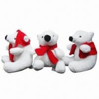 Wholesale Plush polar bears with scarf, 10cm height from china suppliers