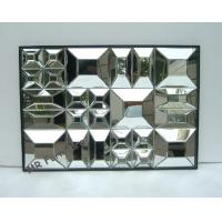 Beveled Edge Mirror Wall Decor, Gold Wooden Trimming Unique Wall Mirrors for sale