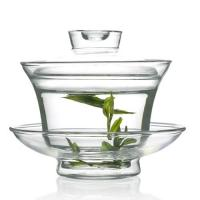 Wholesale 150ml Clear Glass Gaiwan Tea Set With Tea Bowl , Saucer, Cover from china suppliers