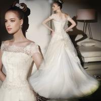 Wholesale Thin lace ladies square neckline wedding dress / Cap Sleeve wedding dresses with long trains from china suppliers
