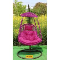 Rose red color rattan hang chair with ceiling and stand