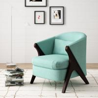 Anchor Green Accent  Arm Chair Library Finsihed In Natural Wood Tone