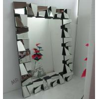 Framless 3D Wall Mirror 78 * 104cm Size Faceted Mirror MDF Back Material for sale