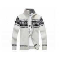 China Autumn Stand Collar Long Sleeve  Zip With Knitted Jacquard Cardigan Mens Sweater for sale