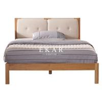 China Solid Oak Wood Fabric Headboard Nordic King Size Bed on sale