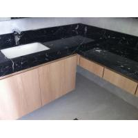 Nero Marquan Rectangle Sink Marble Slab Countertop For Kitchen Eased Edge