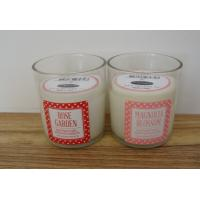 Glass scented decor candle with printed front label and top label for sale