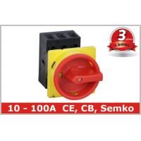 Black , Red 3 Pole Motor Rotary Isolator Switch Disconnectors with Door Mounted