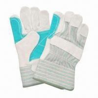 10.5-inch Safety Gloves, Cow Split Green Reinforced Palm, Stripe Back, Rubberized Cuff and CE Mark for sale