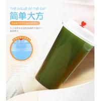 China Printed Pp Plastic Cup With Dome Lid , Transparent Plastic Juice Cup With Straw on sale