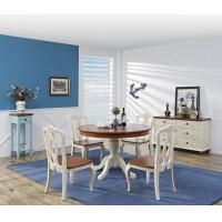 Wholesale Mediterranean Style Dining room Furniture by wood table and chairs with Buffet Cabinet in white/blue painting from china suppliers