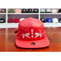 Wholesale Red Camper Flat Brim Leather Fabric Cap 5 Panels from china suppliers