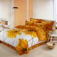 Luxury Yellow Polyester Bed Sets , Microfiber Polyester Cotton Quilt Covers Sets