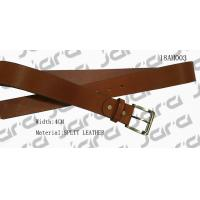 China Black Painting Edges Tan Leather Belt , Mens Brown Leather Belt With Gold Buckle on sale