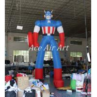 Buy cheap 4 m H Standing Inflatable Captain American For Advertising Made By oxford fabric from wholesalers