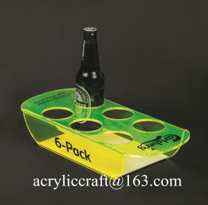 China PMMA wine holder / plexiglass wine bottle display rack / acrylic beer bottle tray on sale