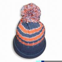 Wholesale Acrylic Knitted Hat with Pompom at Top from china suppliers