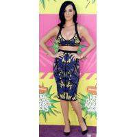 Tropical Printed Two Piece Bandage Dress Knee Length For Girls for sale