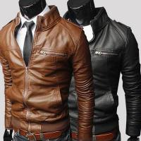 Wholesale Hot sale bulk plain polyester waterproof cheap european fashion winter men leather coat from china suppliers