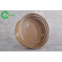 China Take away disposable round kraft paper soup bowl 500ml to go container with clear lid on sale