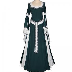 Wholesale Medieval Dress Wholesale XXS to XXXL Custom Made Dark Green&Ecru Medieval Renaissance Victorian Dress cosplay from china suppliers